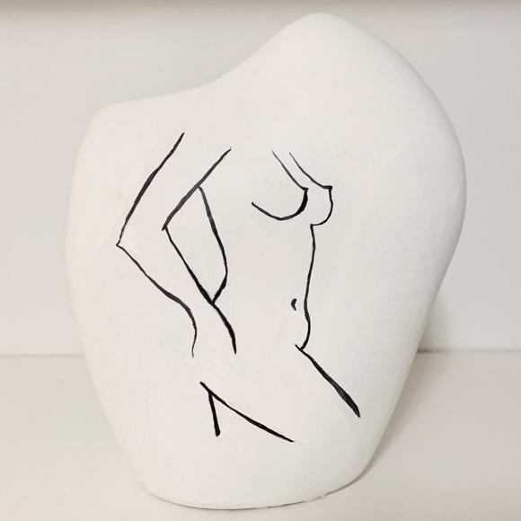 Hand-painted female figure vase